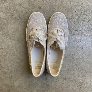 KEDS x Kate Spade Sparkly white platform shoes